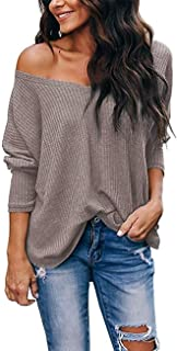 HBEYYTO Women's Casual Off Shoulder Tops V Neck Waffle Knit Blouse Batwing Sleeve Loose Pullover Sweater