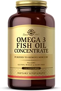 Solgar Omega-3 Fish Oil Concentrate, 240 Softgels - Support for Cardiovascular, Joint & Brain Health - Contains EPA & DHA ...