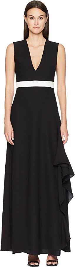 ML Monique Lhuillier Sleeveless Plunging V-Neck Side Slit Maxi