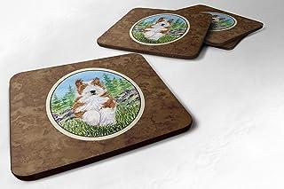 """Caroline's Treasures SS8320FC Bearded Collie Foam Coasters (Set of 4), 3.5"""" H x 3.5"""" W, Multicolor"""