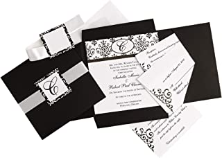 Simplicity Black and White Scroll Wedding Invitation Kit, 25pc, 6'' W x 6'' H -