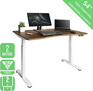 "Seville Classics OFFK65825 Airlift S2 Electric Standing Desk with 54"" Top, Dual Motors, 4 Memory Buttons, LED Height Display (Max. 48.4"" H) 2-Section Base, White/Walnut, White/Walnut"