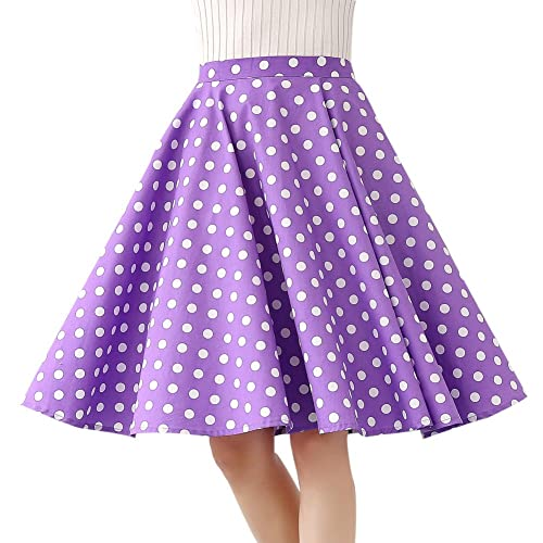 2874a44c6 Women's 100% Cotton Polka Dot Floral 50s Inspired Vintage Rockabilly Full Circle  Skirt