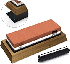 SHAN ZU Piedra de Afilar Cuchillo de Piedra Afiladores Manuales 1000/6000 Grano con Base Antideslizante de Silicona