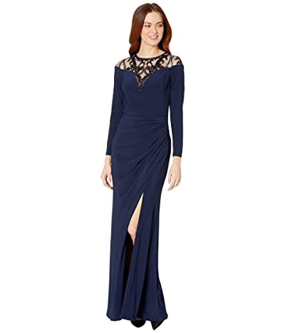 Adrianna Papell Draped Jersey Gown with Sequin Yoke (Midnight) Women