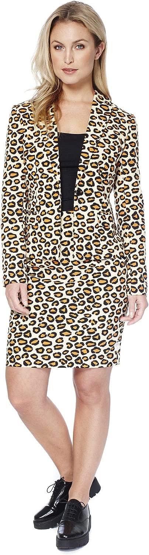 Donne Opposuit Lady Jag, taglia 38, costume leopardo Blazer Gonna autonevale modellololo tigre autonevale