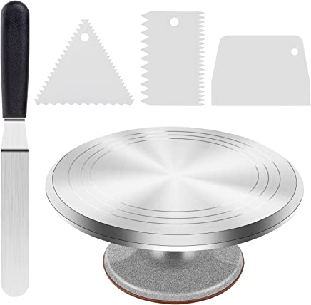 Cake Stand, Ohuhu Aluminium Revolving Cake Turntable 12'' Rotating Cake Decorating Stand with Angled Icing Spatula and Comb Icing Smoother, Banking Cake Decorating Supplies