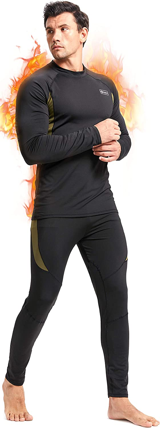 Romision Thermal Underwear for Men, Long Johns Base Layer Fleece Lined Insulated Top and Bottom Set Cold Weather