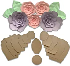 Two Pack Rose & Peony - Paper Flower Template Kit - Free Leaf Template - Paper Flowers Decorations for Wall - Make Unlimited Flowers - DIY Do It Yourself - Make All Sizes (2- Pack Rose/Peony)