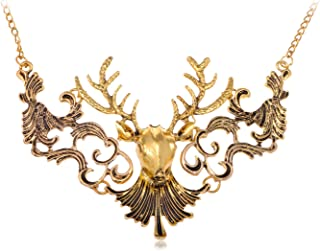 Moose Head Golden Tone Chain Necklace with Delicately Painted Black Accents