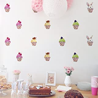 HACASO 24 PCS 2.3 Inches by 3.9 Inches Colorful Cupcake Wall Decal Sticker For Kids Bedroom Decor -DIY Home Decor Vinyl Cupcake Mural Baby Nursery Room Wallpaper