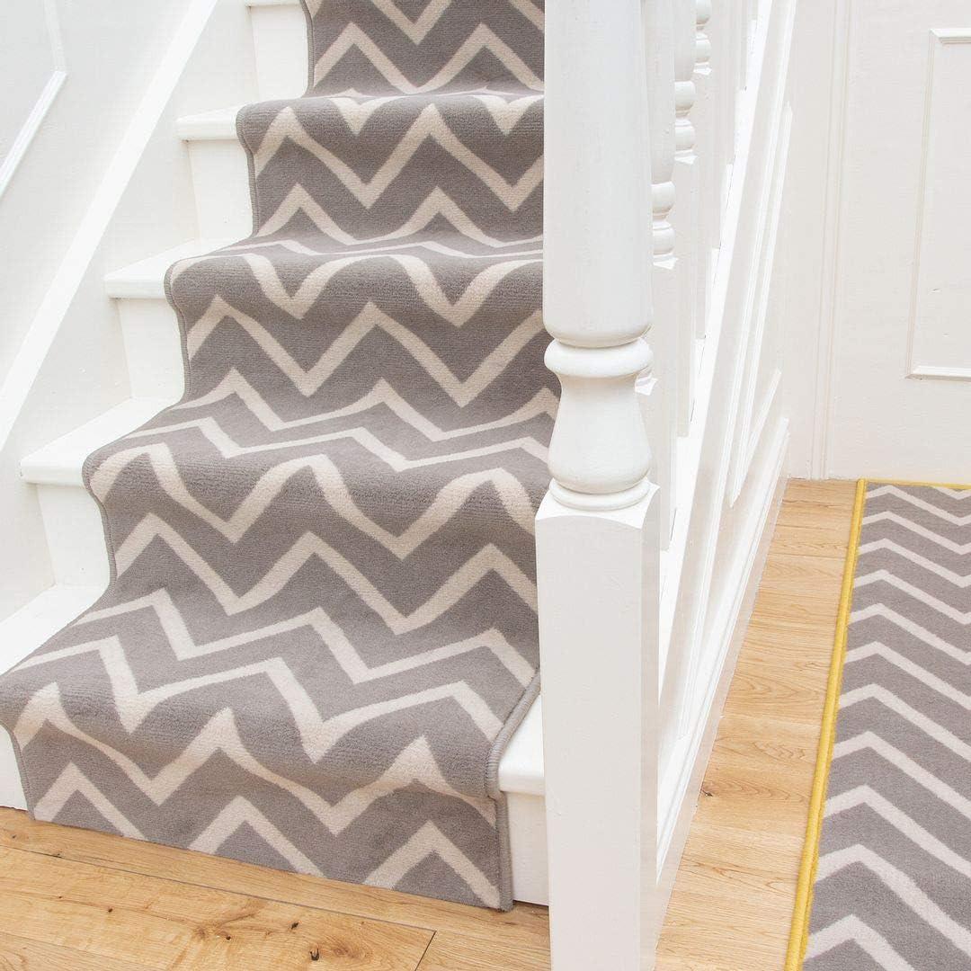 Gray Geometric Stair Carpet Modern Run Zigzag お買い得 別倉庫からの配送 Linier Cream