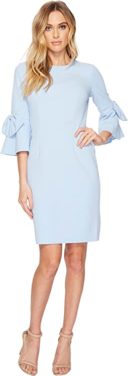 Donna Morgan - 3/4 Bell Sleeve Crepe Shift Dress w/ Bow Detail at Wrist