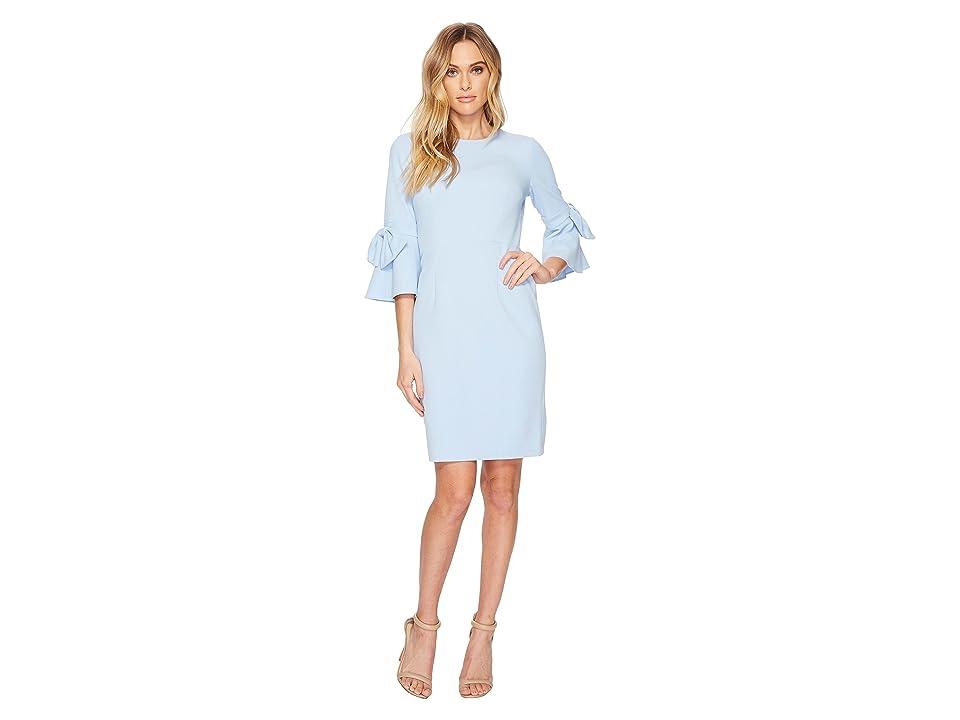 Donna Morgan 3/4 Bell Sleeve Crepe Shift Dress w/ Bow Detail at Wrist (Powder Blue) Women