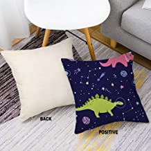 Linen Fabric Decorative Throw Pillow Cover Case with Invisible Zipper for Sofa Bench Space Dino Fabric Space Dinosaurs 18inch 18inch