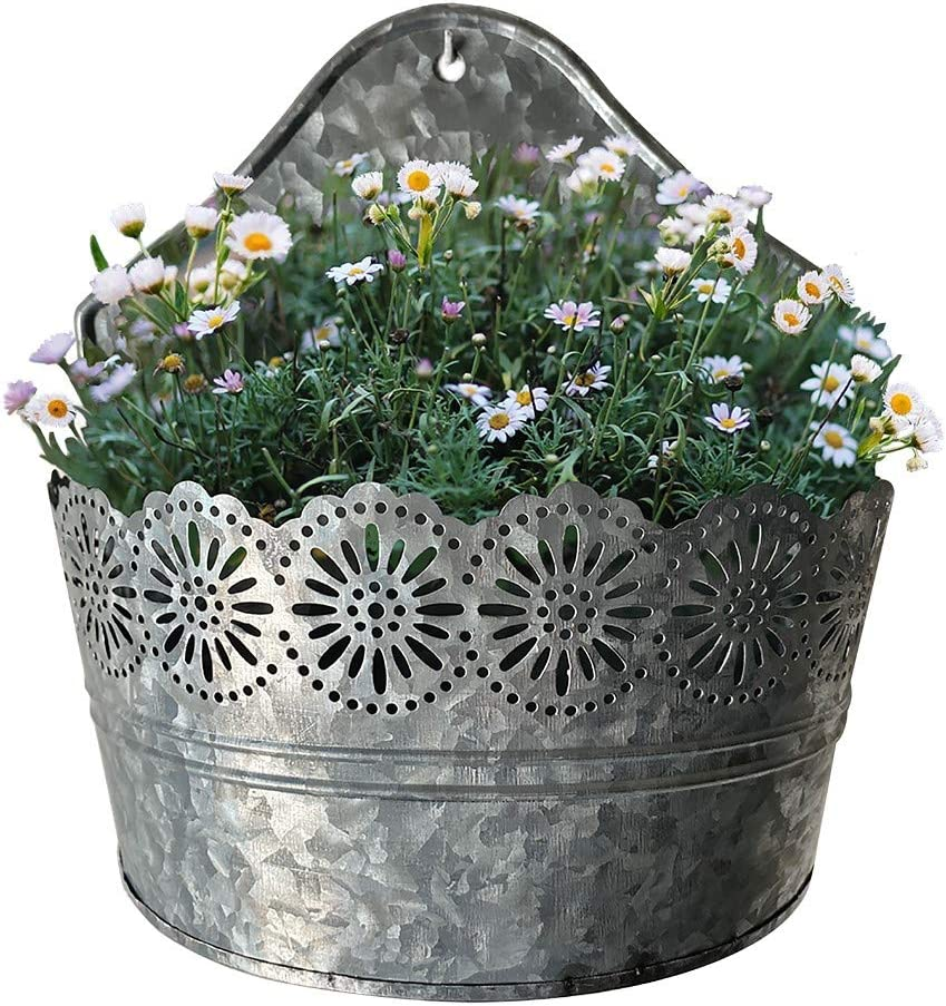 Lily's Home Indoor Outdoor Wall Mounted Planter with Floral Accents for Succulents, Cacti, Herbs, Faux Plants, Galvanized Metal. Plants Not Included