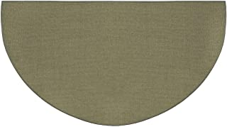 Fire Retardant Fiberglass Half Round Hearth Fireplace Area Rug Polyester Trim Non Slip Mat Low Profile Protects Floors from Sparks Embers Logs 32 W x 60 L Sage