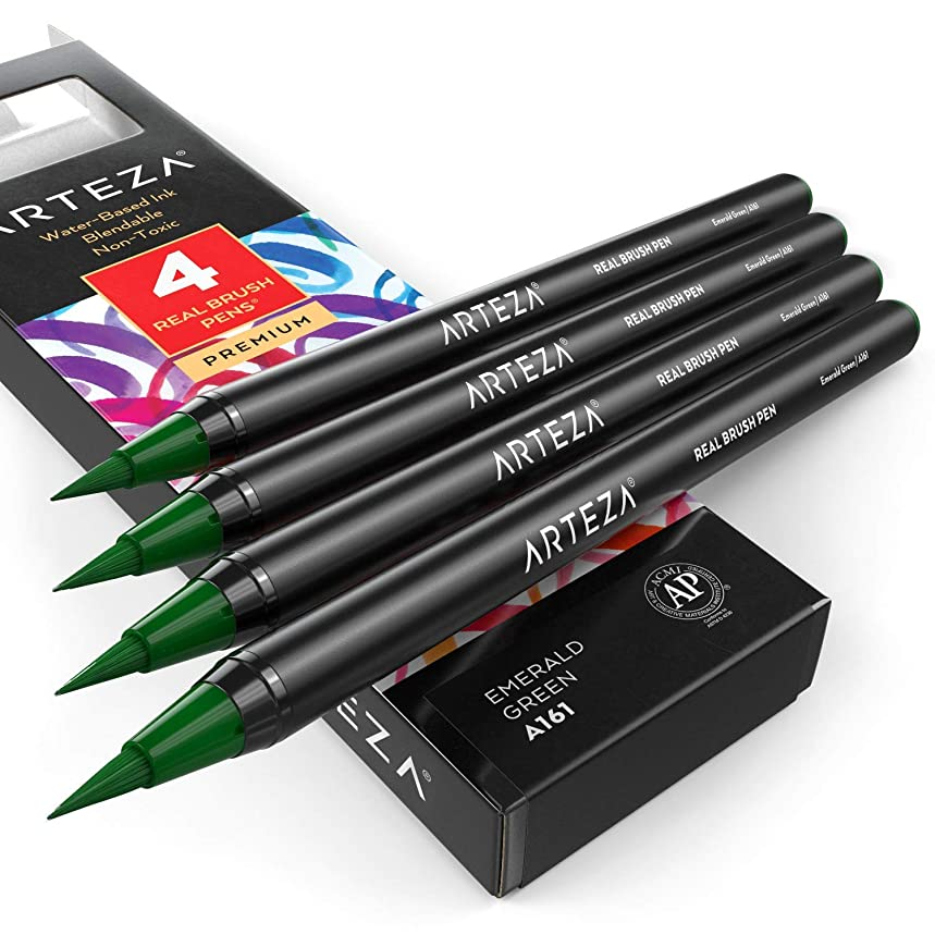 ARTEZA Real Brush Pens (A161 Emerald Green) Pack of 4, for Watercolor Painting with Flexible Nylon Brush Tips, Paint Markers for Coloring, Calligraphy and Drawing
