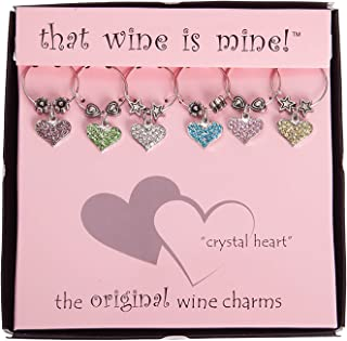 Wine Things WT-1641P Crystal Heart Wine Charms, Fits neatly around stem, Multi-Color