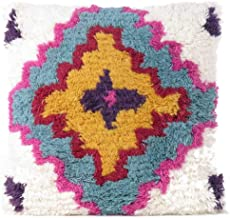 """Eyes of India - 20"""" Pink Blue Decorative Woven Tufted Wool Embroidered on Cotton Pillow Cushion Cover Fringe Tassel Couch ..."""