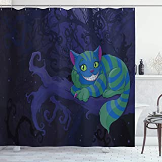 Ambesonne Alice in Wonderland Decorations Collection, Chester Cat Sitting on Branch in Fairy Forest Character Alice, Polyester Fabric Bathroom Shower Curtain, 84 Inches Extra Long, Green Blue Purple