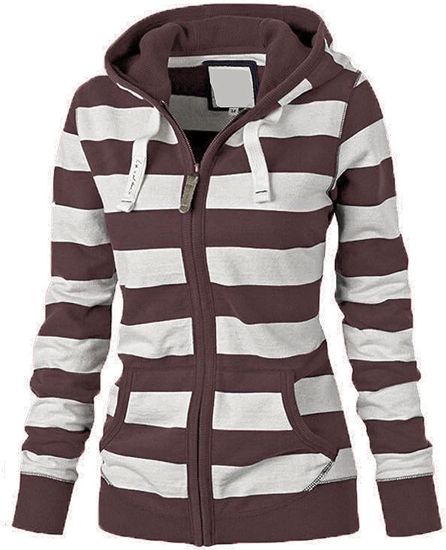 Winter Casual Women Sweatshirt Loose Long Sleeve Hoodies Tops Fashion Stripe Coats Pocket Outerwear