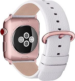 Fullmosa Apple Watch対応 バンド ベルト アップルウォッチバンド38mm/40mm apple watch 4 3 2 1 バンド 本革レザー 交換バンド ラグ付き 38mm/40mm ホワイト+ローズゴールドバックル