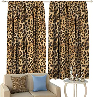 HoBeauty Brown, Thermal Insulating Blackout Curtain, Leopard Print Animal Skin Digital Printed Wild African Safari Themed Spotted Pattern Art, Blackout Draperies for Bedroom,(W63 x L63 Inch, Brown