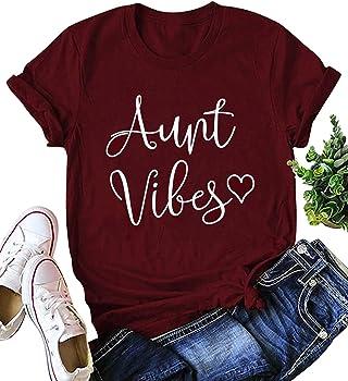 Kiddad Women's Aunt Vibes Love Heart Print T-Shirt
