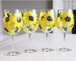 Hand Painted Sunflower Stemmed Wine Glasses | Set of 4-12 oz | Sunflower Birthday Gift for Mom | Gift for Women | Yellow Sunflower Wine Glasses | Sunflower Kitchen Decor | Sunflower Gift Ideas