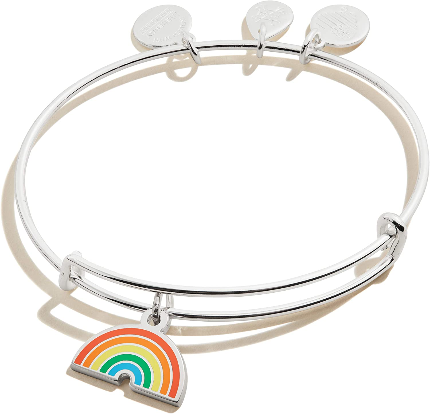Alex and Ani Path of Symbols Expandable Bangle for Women, Rainbow Charm, Shiny Finish, 2 to 3.5 in
