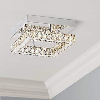 "Patricia Modern Ceiling Light Flush Mount Fixture LED Chrome 12"" Wide Square Crystal for Bedroom Kitchen Living Room Hallw..."