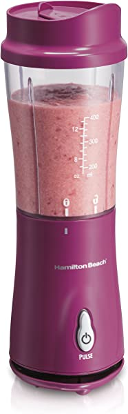 Hamilton Beach Personal Smoothie Blender With 14 Oz Travel Cup And Lid Raspberry 51131