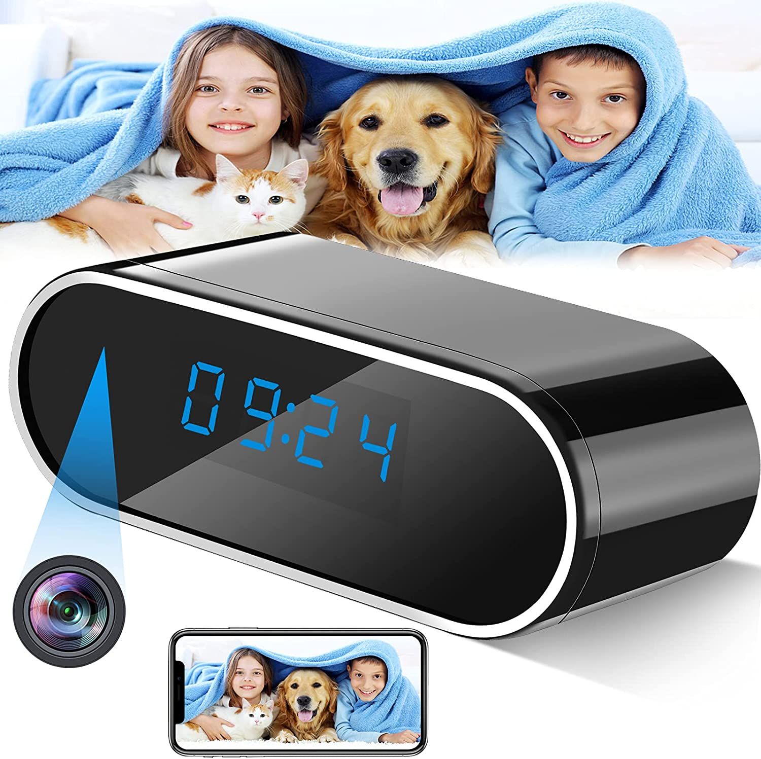 Hidden Camera, Spy Camera Wireless WiFi 1080P Hidden Cameras Clock with Night Vision,Motion Detection,Loop Recording,Small Nanny Cam Secret Camera with Phone App for Home Surveillance Room Baby Pet