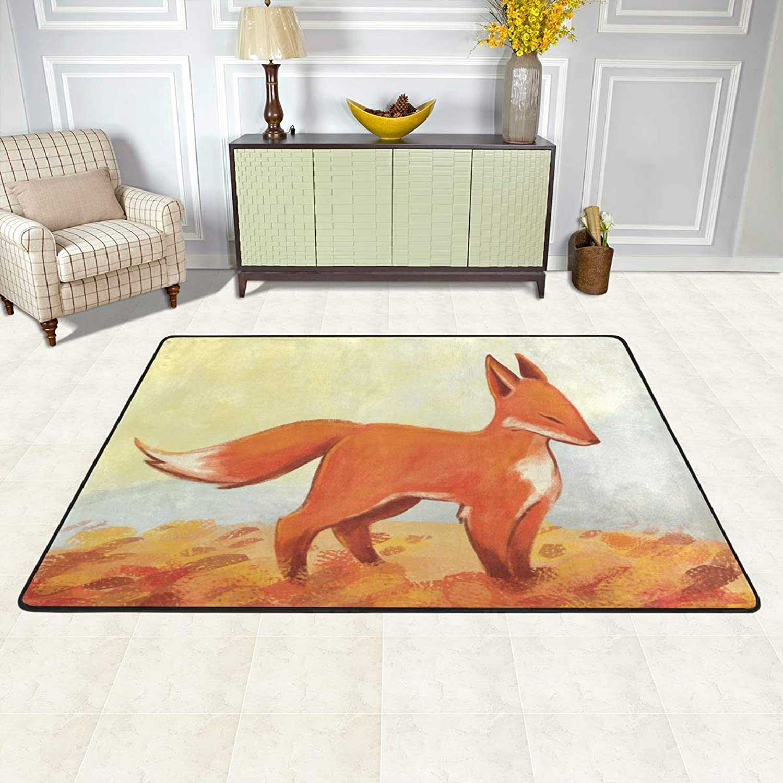 MALPLENA Fox Painting Rugs for Living Room Doormat Carpet Floor Mats shoes Scraper for Living Room Dining Room Bedroom Kitchen Non Slip