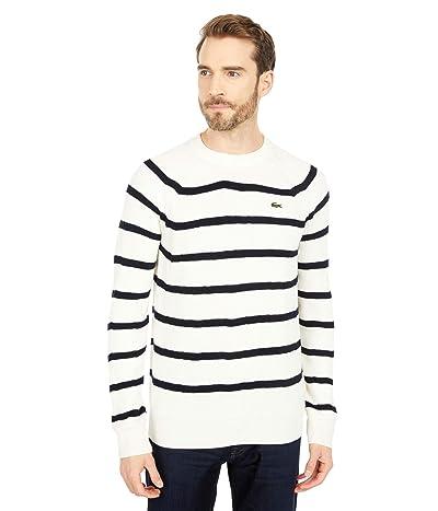 Lacoste Long Sleeve Striped Full Cardigan Rib Sweater (Geode/Abysm) Men
