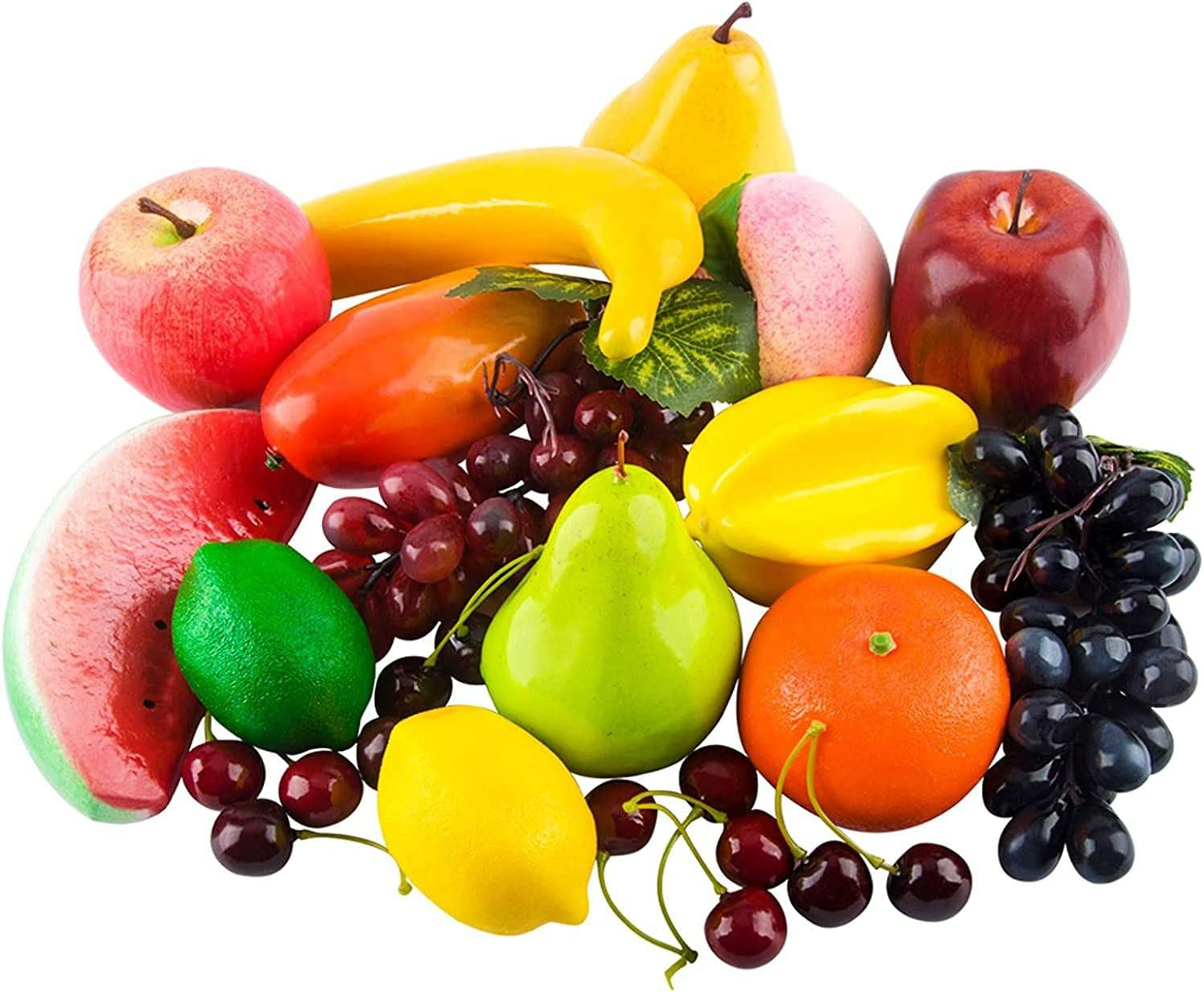 Popular standard 20 Pcs Artificial Long-awaited Fruits Assorted Lifelike Fruit Deco Realistic