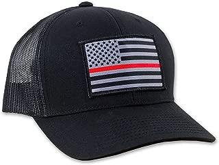 Thin Red Line American Flag Flexfit Hat - Mesh Snapback Trucker Style