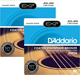 D'Addario EXP16 Coated Phosphor Bronze Light 12-53 (2-Pack Bundle)