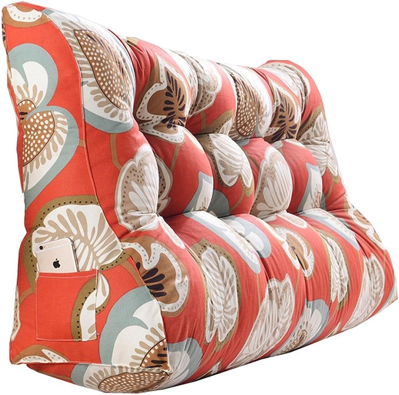 Double Coussins Triangle de chevet taille oreiller canapé dos sac souple lit grand prougeéger l'oreiller de taille lire les coussins Orange (taille   60  120  30cm)