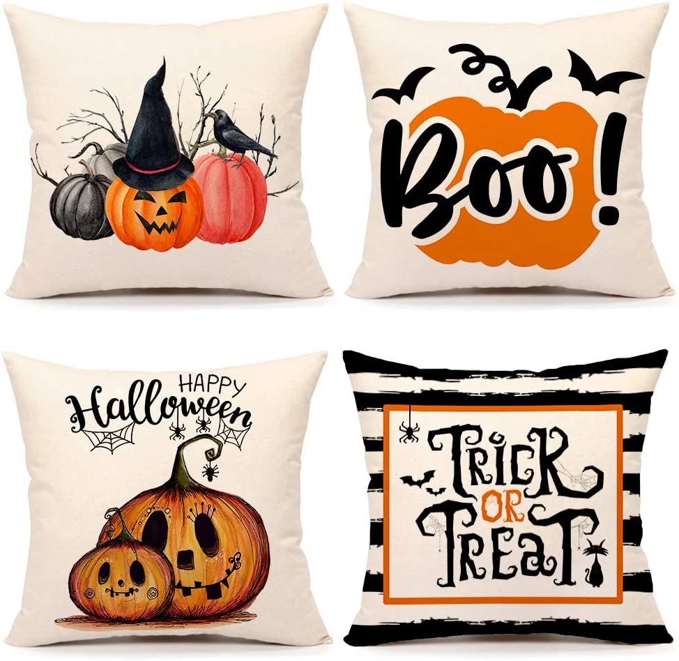 Ranking New mail order TOP14 4TH Emotion Fall Halloween Pumpkin Covers 16x16 Pillow Se Inches