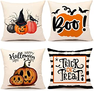 4TH Emotion Fall Halloween Pumpkin Throw Pillow Cover Trick or Treat Farmhouse Home Cushion Case for Sofa Couch 18 x 18 Inches Cotton Linen Set of 4