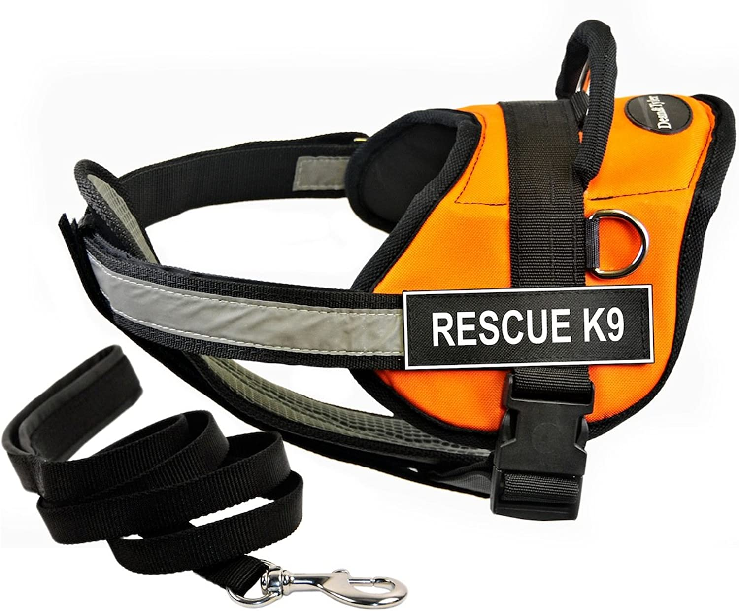 Dean & Tyler DT Works orange RESCUE K9 Harness with Chest Padding, XSmall, and Black 6 ft Padded Puppy Leash.