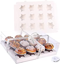 12 Count Cupcake Boxes,6 Pack Clear Cupcake Containers with A Roll of Ribbon,Cupcake Holder With Lid for Cookies Muffins P...