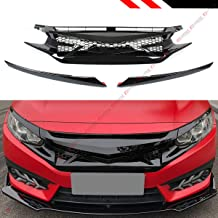 Fits for 2016-2019 Honda Civic 10TH Gen Glossy Black JDM Battle Style Front Hood Grill Grille