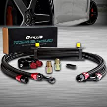10 Row 10AN Universal Aluminum Engine Transmission Oil Cooler Kit + Oil Filter Adaptor Kit Black