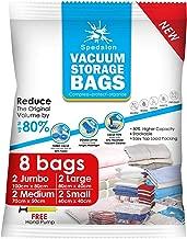 Bolsas de almacenamiento al vacío – Paquete de 8 (2 Jumbo + 2 Grande + 2 Medio + 2 Pequeño) reutilizables con bomba de mano para embalaje de viaje | las mejores bolsas de sellado para ropa, edredones