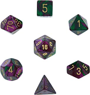 Chessex Polyhedral 7-Die Gemini Dice Set - Green & Purple with Gold CHX-26434