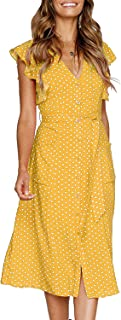 Best yellow dress with buttons down the front Reviews