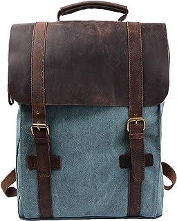 rucksack segeltuch S-ZONE 15 Inch Laptop Rucksack Segeltuch Leder Canvas Vintage-Stil Unisex Daypack Schulrucksack Reisetasche Wandertasche für Arbeit Freizeit Aktualisiert Doppelte Reißverschluss Version